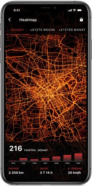 """""""Heatmap"""" der Bike Citizens App"""