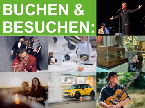 Collage mit Fotos aus dem Entdeckertagsprogramm, oben links der Text: Buchen & Besuchen.