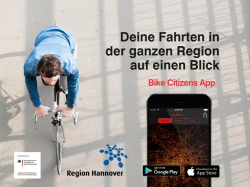 Draufsicht auf eine Fahrradfaher und eine Handy.