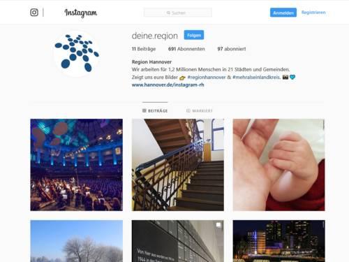 Vorschau auf den Auftritt der Region Hannover bei Instagram.