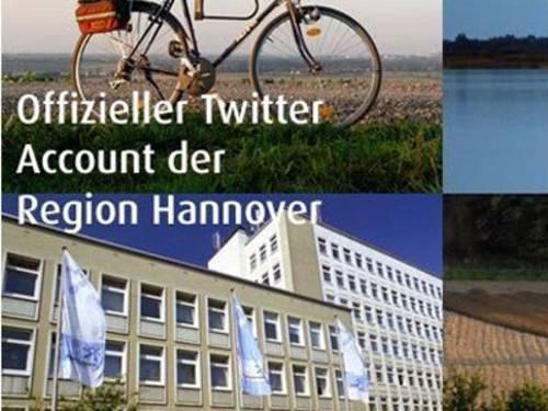 """Bild mit Schriftzug """"Offizieller Twitter Account der Region Hannover"""". Zu sehen sind ein Fahrrad im oberen Teil des Bildes und das Regionsgebäude Hildesheimer Straße 20 im unteren Teil."""